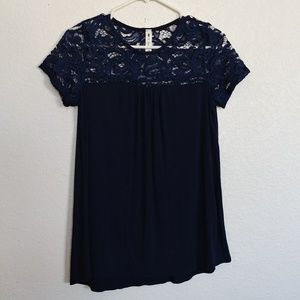 Women's S Vanilla Bay Top lace blue stretchy
